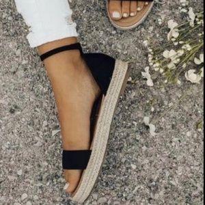 Shoes - ❗️SALE❗️ Black Ankle Strap Espadrille Sandals